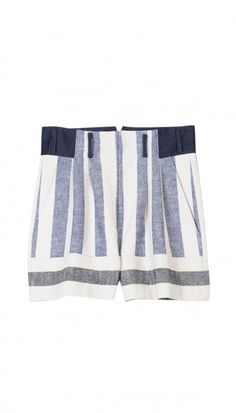 Tibi Blanket Shorts - Shop more nautical styles for a sailor-chic summer look. Baggy Shorts, High Waisted Shorts, Knit Shorts, Linen Shorts, Fashion Articles, Fashion Advice, Floral Shorts, Striped Shorts, Striped Knit