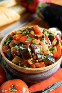 Caponata - A super flavorful and delicious Sicilian vegetable dish that is fantastic served hot or cold. Delicious spread on bread or as a side dish. (Substitute two teaspoons of raw honey for the sugar if you want.)