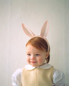 Turn your little one into an Easter bunny with a pair of pink felt ears. Via @Martha Stewart (Martha Stewart Living)