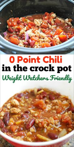 This 0 point Chili in the Crock Pot will become your new Weight Watchers favorite. Filling and delicious and so easy to make. #weightwatchers #zeropoints #freestyle Weight Watchers Chili, Weight Watchers Lunches, Weight Watchers Meal Plans, Weight Watcher Dinners, Weight Watchers Chicken, Weight Watchers Desserts, Weight Watcher Crockpot Recipes, Weight Watchers Recipes With Smartpoints, Weight Watcher Points