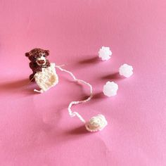 This tiny crochet bear by was created using DMC Pearl Cotton. Crochet Bear, Cute Crochet, Bear Toy, Diy, Stud Earrings, Embroidery, Pearls, Photo And Video, Knitting