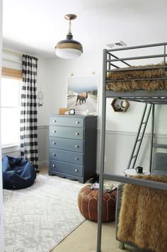 Rustic Tween Boys Room-Black Buffalo Check