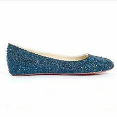 Blue Sparkling Glitter Flat Shoes Very cute, worn once Bamboo Shoes
