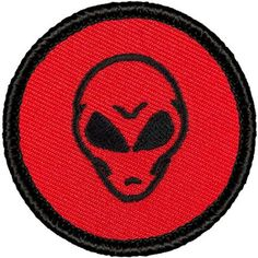 "Retro Red and Black Alien Patrol Patch - 2"" Round"