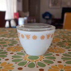 Pyrex Sugar Bowl Butterfly Gold pattern.