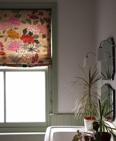 manuel canovas misia floral fabric blind in my bathroom with verte de terre farrow and ball woodwork and white walls and original btc lights Indoor Blinds, Patio Blinds, Diy Blinds, Bamboo Blinds, Fabric Blinds, Curtains With Blinds, Blinds Ideas, Privacy Blinds, Roman Blinds