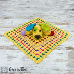 Scrappy the Happy Puppy Lovey Crochet Pattern by one and Two Company