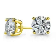 2 Ct CZ Sterling Silver Gold Plated Stud Earrings w/ Free Shipping