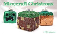 minecraft-Christmas-ornaments-diy-craft-boy DIY Christmas Craft ideas and Christmas activities for Kids and Children Easy To Make Christmas Ornaments, Christmas Craft Projects, Homemade Christmas, Kids Christmas, Holiday Crafts, Diy Ornaments, Ornament Crafts, Christmas Stuff, Holiday Ideas