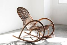 Rattan rocking chair by mid century Italian architect and designer, Franco Albini
