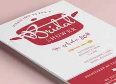 Bridal Wedding Shower Invitation Kitchen Theme by PaintByInvite, $15.00. Stock the kitchen, cooking, pots and pans. Red, orange, white, spanish colors. Custom and printable.