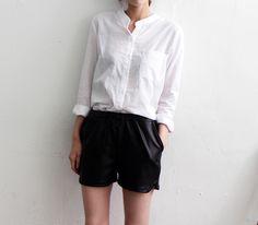 White Blouse & Leather Shorts