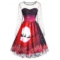 Print Lace Panel Vintage Party Dress. Plus Size Christmas ... 5bb57cf5c369