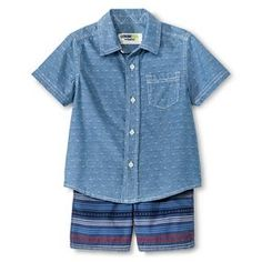 Baby Boys' Top And Bottom Set - Metallic Blue  - Genuine Kids™ from OshKosh®