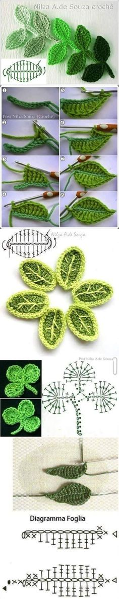 Discover thousands of images about Tunisian crochet flower Crochet Leaf Patterns, Crochet Leaves, Knitted Flowers, Crochet Diagram, Crochet Squares, Crochet Designs, Knitting Patterns, Crochet Flower Tutorial, Crochet Diy