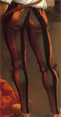 Calzas enteras bandadas. Decapitación de San Juan Bautista, Alejo Fernández, hacia 1525, Caylus, Madrid