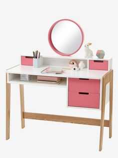 Color-block vanity desk white / pink / wood – Vertbaudet by Bedroom Closet Design, Home Room Design, Home Office Design, Home Office Decor, Desk For Girls Room, Girl Desk, Bedroom Decor For Women, Home Decor Bedroom, Modern White Desk