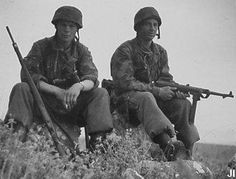 German paratroops take a breather on Crete.