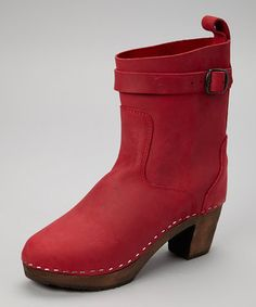 Look at this #zulilyfind! Red Leather Clog Boot - Women by Cape Clogs #zulilyfinds