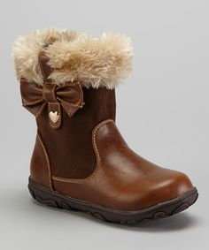 560265cc4ce Laura Ashley Brown Crazy Horse Faux Fur Boot