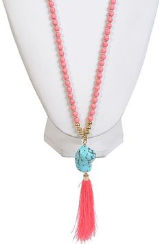 Bal Harbor Tassel Stone Necklace - Coral + Turquoise