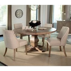 Donny Osmond Home Florence Round Pedestal Dining Table - Coaster Fine Furniture Round Dining Table Sets, Round Pedestal Dining Table, Formal Dining Tables, Dining Table In Kitchen, Dining Chairs, Round Kitchen Tables, Side Chairs, Round Tables, Patio Dining