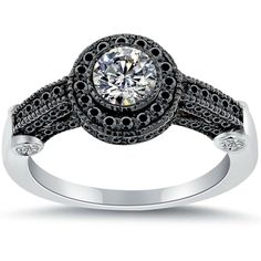 Halo Engagement Rings Black Gold 2
