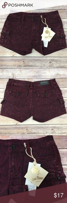"""Rose Royce Premium Margo Maroon Leopard Shorts Rose Royce Premium Margo Maroon Leopard Shorts in a cotton/spandex maroon leopard fabric with black stud accents on the side pockets.  Measurements are approximately 14.5"""" waist, 3"""" inseam & 8.5"""" rise.  Rose Royce Premium Denim is probably the premium denim brand you've never heard of.  The fabrics and finishes are luxe, and their signature rose hardware is on every pair along with additional buttons & rivets. Rose Royce Premium Shorts Jean…"""