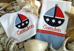 Sailboat Nautical Applique Baby Bib & Burp Cloth Set. $24.99, via Etsy.