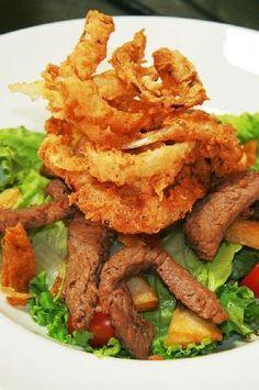 Our MAN-salad, with steak strips, potato wedges and onion rings Steak Strips, Onion Rings Recipe, Potato Wedges, Trip Advisor, Potatoes, Van, Salad, Beef, Restaurant