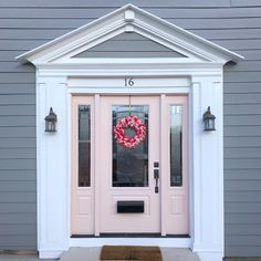 Amazing blue front doors - read up on our write-up for a lot more tips! Grey Front Doors, Front Door Colors, Front Door Design, Entrance Design, Box Houses, Pink Houses, Exterior Doors, Entry Doors, Porch Entrance
