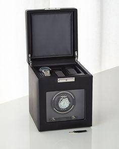 Viceroy Single Watch Winder with Storage, BLACK - WOLF