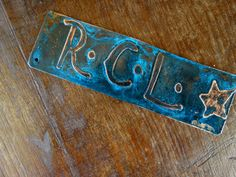 Custom Bookmark with Initials or Date Copper Etch with Blue Patina - One of A Kind Bridesmaids gifts!
