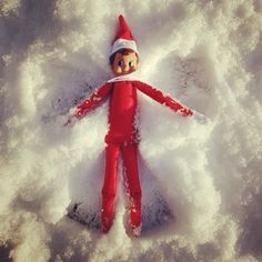 When it snows, the elf makes angels! Elf on a shelf snowy idea