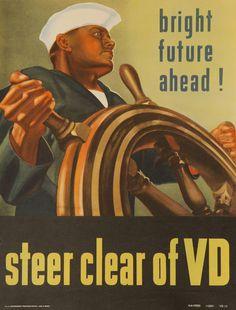 DP Vintage Posters - Steer Clear of VD Original American WWII Navy Health Poster