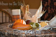 fall in love with your fall tabletops, seasonal holiday decor, I love this basket full of fall goodies Side Table Decor, Dining Room Table, Table Decorations, Fall Kitchen Decor, Falling In Love, Goodies, Basket, Make It Yourself, Holiday Decor