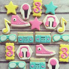 Hip hop/80's dance party for a 3rd birthday! . #decoratedcookies #decoratedsugarcookies #customcookies