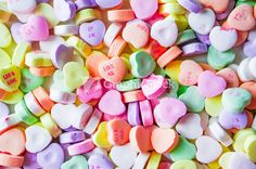 Closeup Of Heart Candies With Message Stock Image