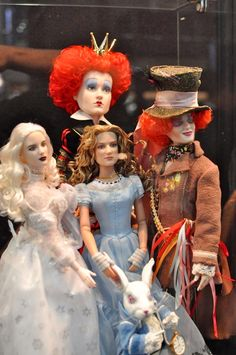 Group shot of the Tim Burton's Alice in wonderland doll line from Robert tonner dolls
