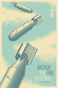Arcade Fire & The National - gig poster - Cory Loven Music Illustration, Illustrations, Graphic Design Illustration, Gig Poster, Poster Prints, Graphic Posters, Graphic Art, Tour Posters, Band Posters
