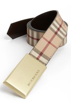 Classic Burberry check belt for every season.