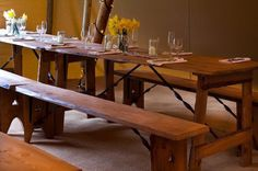 Rustic vintage table and bench's furniture now available for hire from http://devonvintagechina.co.uk