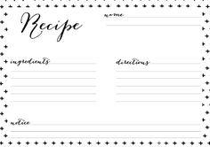 10 kostenlose Rezeptkarten in Black&White - Kreavida