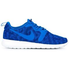 Nike Roshe One KJCRD Sneakers ($117) ❤ liked on Polyvore featuring shoes, sneakers, blue, nike shoes, blue shoes, round toe shoes, round cap and lace up shoes