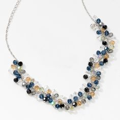 """Swarovski Crystal Jewelry Click picture to visit website Beaded Bauble Necklace Item 3916NF Crystal, Montana, Crystal Paradise Shine, Light Colorado Topaz, Black Diamond, and Jet crystal; rhodium plating; 15"""" to 18"""" $149.00  Alison Manaher's Personal Website"""