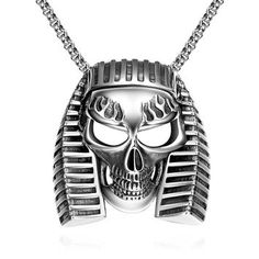 Never Fade White Gold Plated Male Pendant Necklace Stainless Steel Skull Steam Punk Biker Vintage Accessories Men Jewelry BK0013