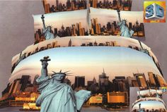 Pościel błękitna na łóżko z Nowym Yorkiem i statułą wolności