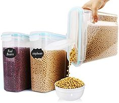 Cereal Container Set,Food Storage Containers Large Airtight Storage Keeper 4L Blue Lids 135.2oz Leak-Proof /& BPA Free Flour Sugar Set of3 Baking Supplies Great for Cereal