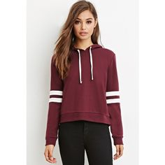 Forever 21 Women's Varsity-Striped Hoodie ($15) ❤ liked on Polyvore featuring tops, hoodies, striped hooded sweatshirt, lightweight hooded sweatshirt, hooded sweatshirt, light weight hoodie i sweatshirts hoodies