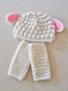 Baby Lamb Hat & Leg Warmers - Newborn, 3 to 6 Months, 6 to 12 Months - Any Color - Farm, Animal, Barnyard, Sheep